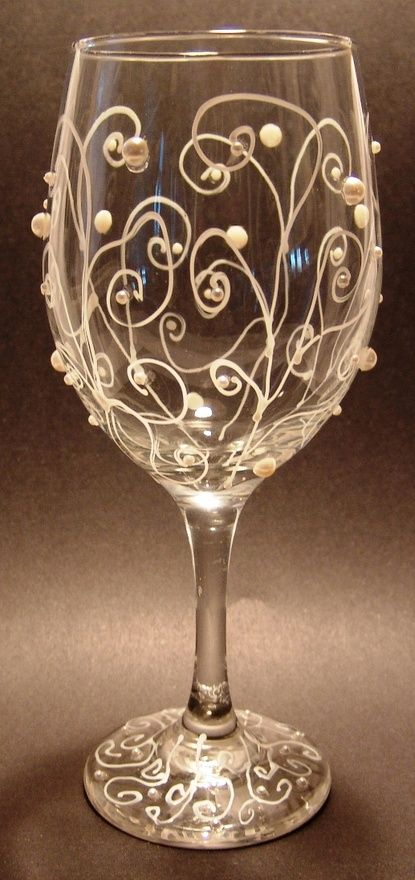 decorate a wine glass with pearl stickers you can find