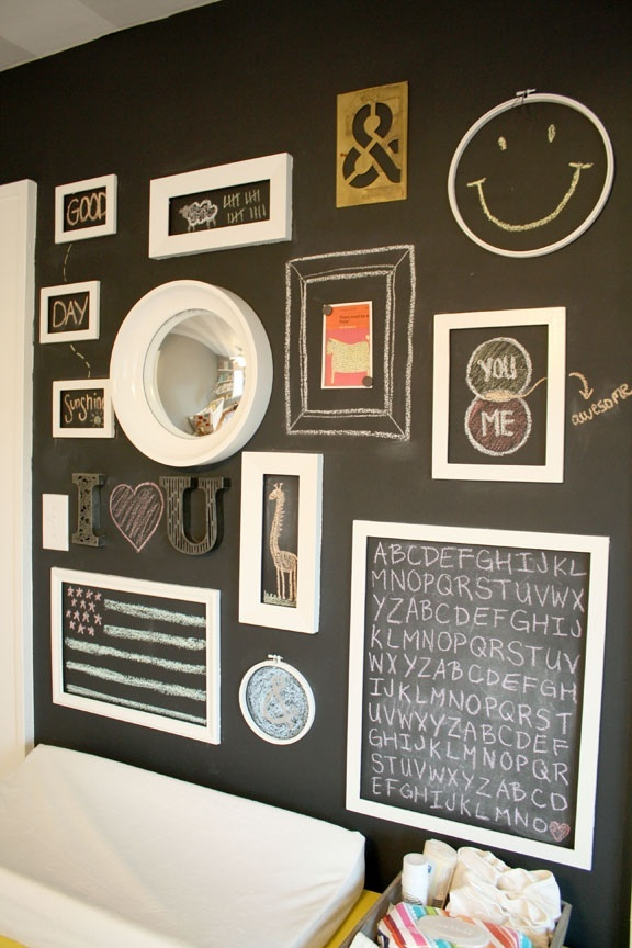Chalkboard paint with a layer of magnetic paint underneath. Frames were painted and affixed to the wall with velcro (so they can be removed but little hands cant knock them off). Love that you can change the entire look of the wall with a little bit of colored chalk and create your own revolving art gallery!
