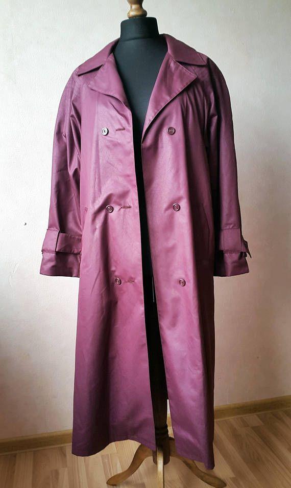 Vintage Woman's Trenchcoat | Faux Leather Printed Violet Plum Rain Coat | Long Jacket for Autumn |Ladies 90s Grunge Hipster Fashion Raincoat
