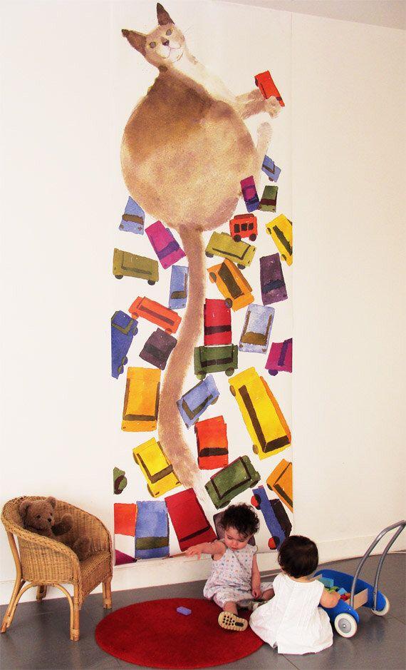Carta da parati bambini (2 pannelli): il murale carta da parati - carta da parati per parete - gatto - bambini parete arte - bambini di lesmoineauxdeco su Etsy https://www.etsy.com/it/listing/97000225/carta-da-parati-bambini-2-pannelli-il