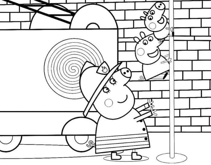 Peppa Pig Fire Truck Coloring Pages Truck Coloring Pages Peppa
