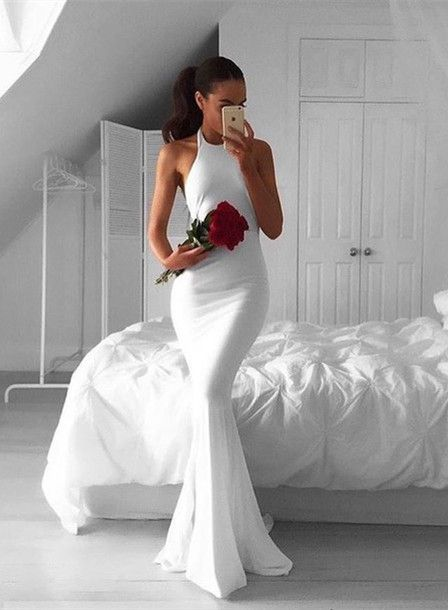 Sexy Prom Dresses,White Evening Dresses,New Fashion Prom Gowns,Elegant