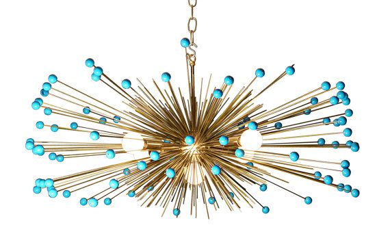 Turquoise Beaded Urchin Chandelier Lighting by Stimulight on Etsy