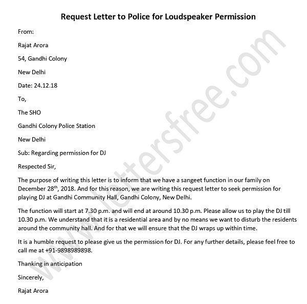 Police Permission Letter For Dj Loudspeaker In English In 2021 Lettering Police Loudspeaker