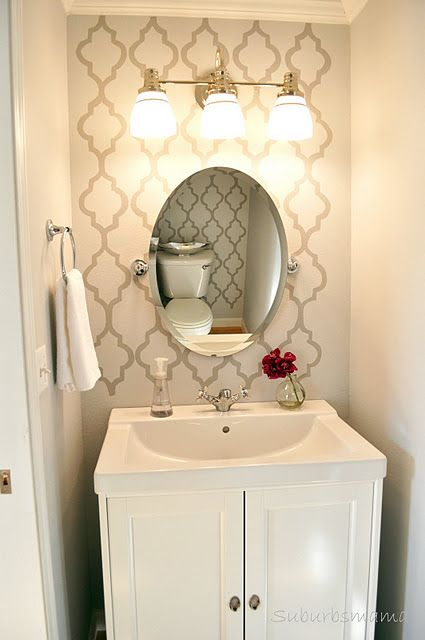 Half Baths Bathroom And Stencils On Pinterest