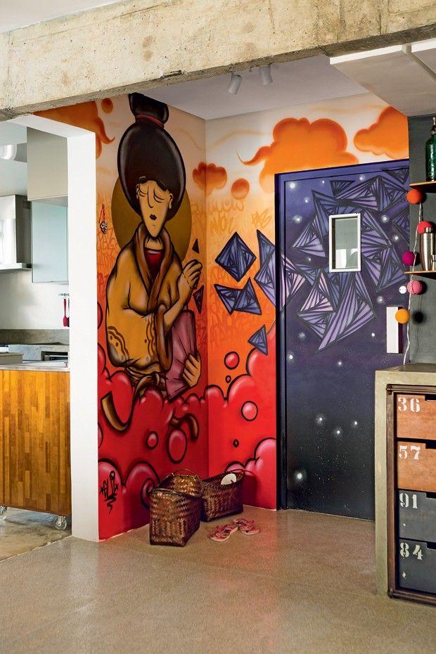 projeto-sala-oleiro-hall-com-grafite (Foto: Edu Castello/Editora Globo)