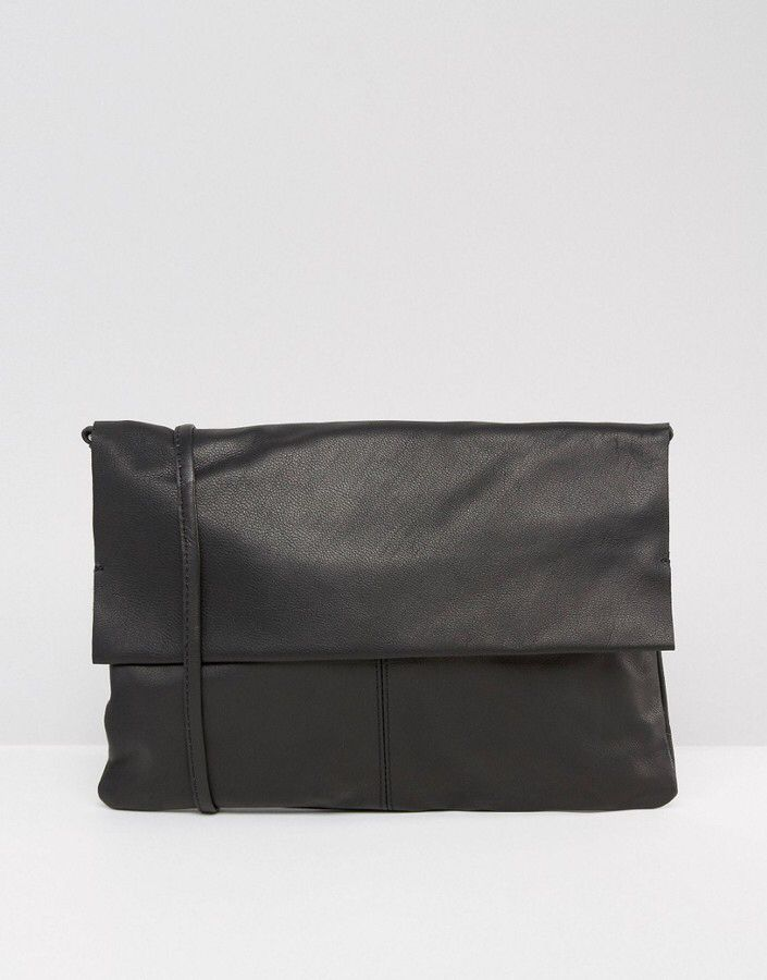 Unlined Soft Leather Cross Body Bag With Detachable Strap black
