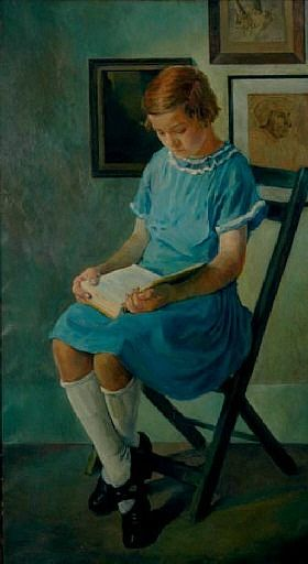 Portrait of a Girl in a Blue Dress Reading a Book (1925 ...