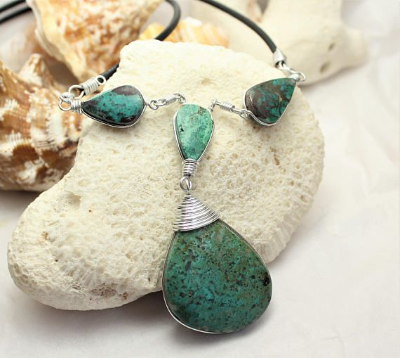 Peruvian Chrysocolla wire wrapped green n blue lariat necklace