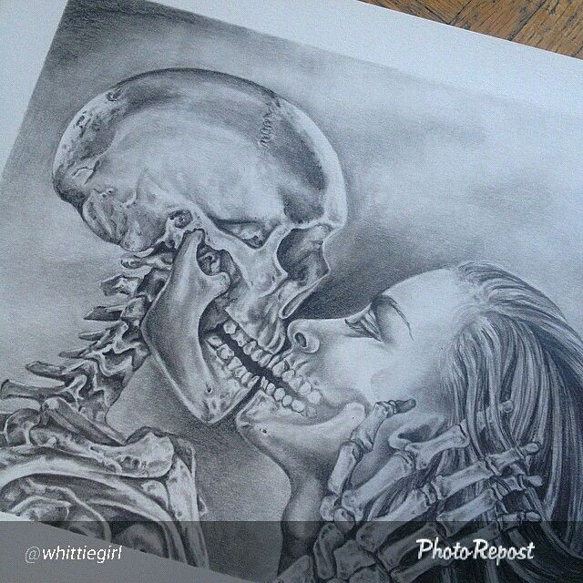 "By @whittiegirl ""All finished ""kiss of death"" #skeleton #skull #kiss #kissofdeath #death #skulldrawing #pencildrawing #realismdrawing #artnerd2015 #artcollective #sketch_daily #artists_4_help"" #humankanvascalgary"