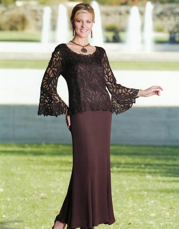Soulmates D8597 Crochet Beaded Silk 2 pc Formal Dress (Missy, Plus Sizes)
