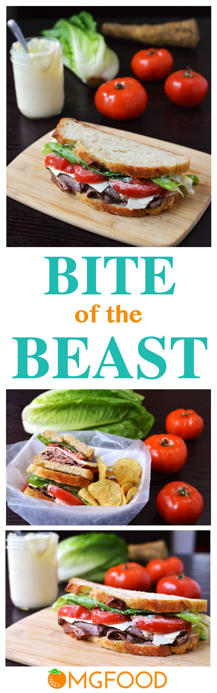 """Bite of the Beast (Roast Beef and Cheddar Sandwich) - The combination of roast beef, sharp cheddar, tomato, and creamy horseradish is what makes up the name """"Bite of the Beast!"""" A great sandwich for lunch (or even dinner). 
