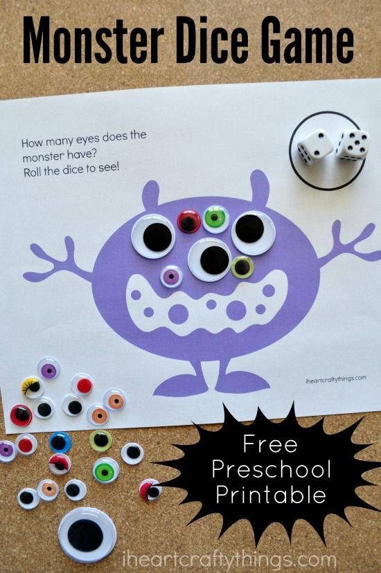 Use this Monster Eyes Counting Game Preschool Printable to practice counting with your preschooler. They'll have a giggly time making silly monsters.