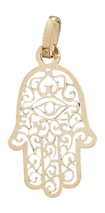 Hand der Fatima Anhänger Gold 585 Hamsa zwei Größen Goldanhänger 14 Kt Gelbgold in Uhren & Schmuck, Echtschmuck, Halsketten &…
