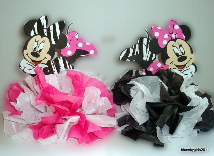 2 minnie mouse zebra polka dot table centerpiece for Baby minnie decoration