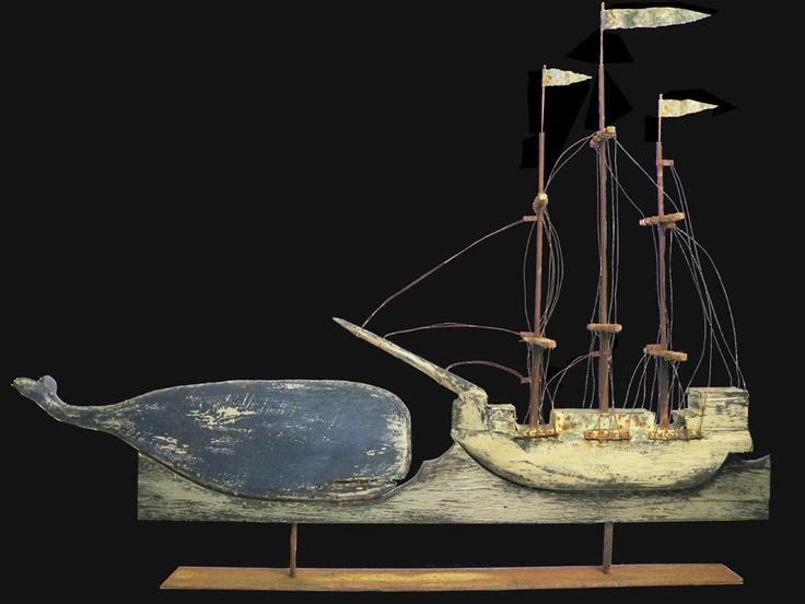Folk art depicts a whaling ship like those from Nantucket