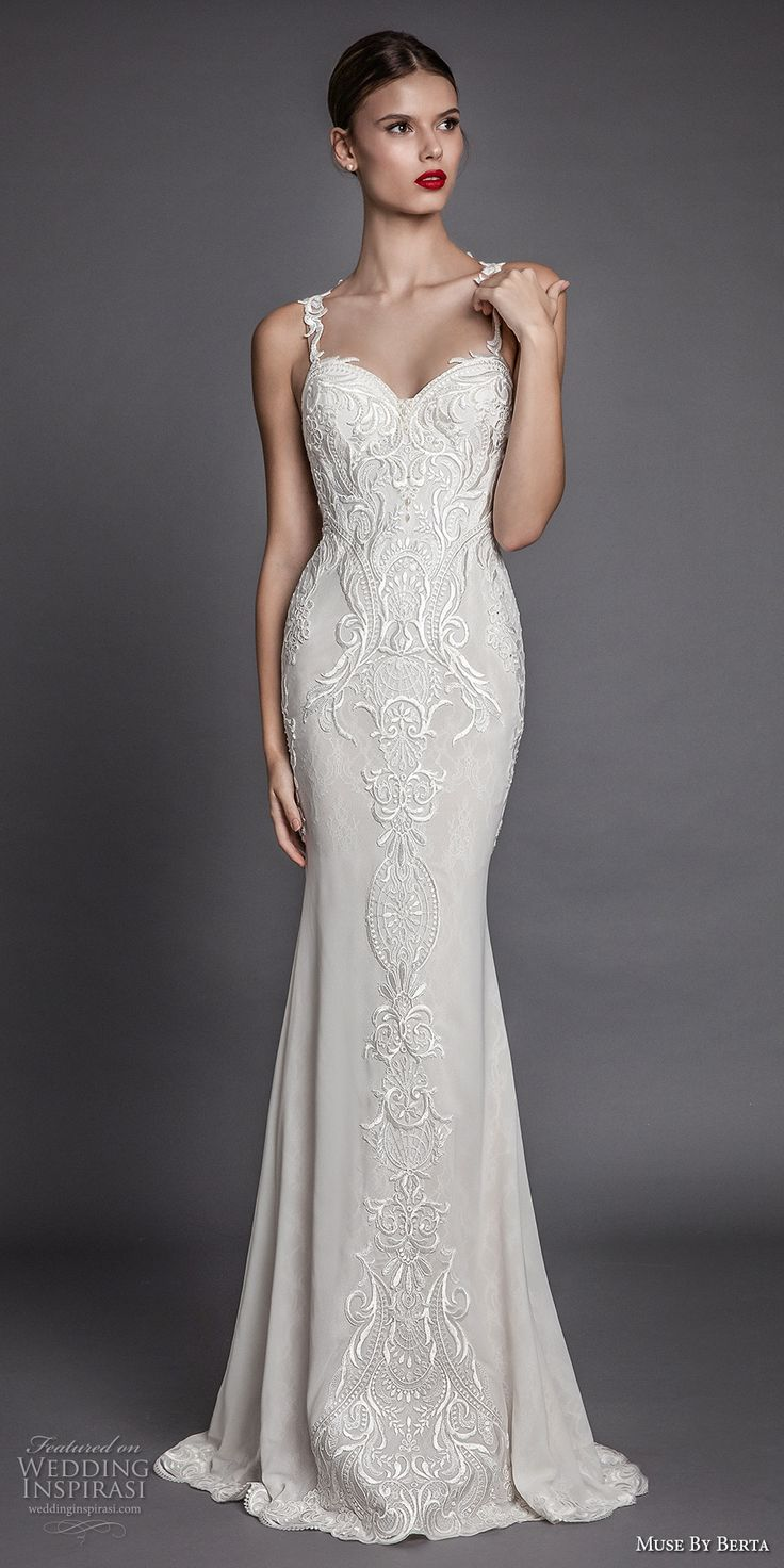 De 20 B Sta Id Erna Om Sheath Wedding Dresses P Pinterest Br Llopskl Nnin