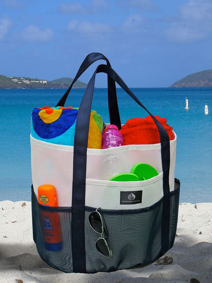 These are THE BEST beach bags!  I have two sizes. One huge whale bag for the beach, holds around 6 towels and extras and a smaller one for the pool.  Sand drains right out!