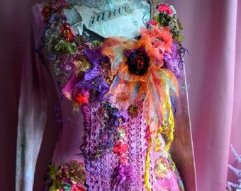 Bohemian,romantic dress Size M/S altered couture reworked fairy gypsy mori girl wearable art