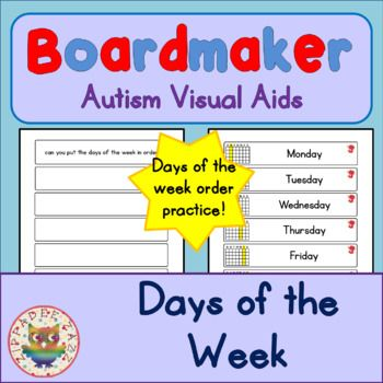 Days of the Week - Boardmaker Visual Aids for Autism PECS
