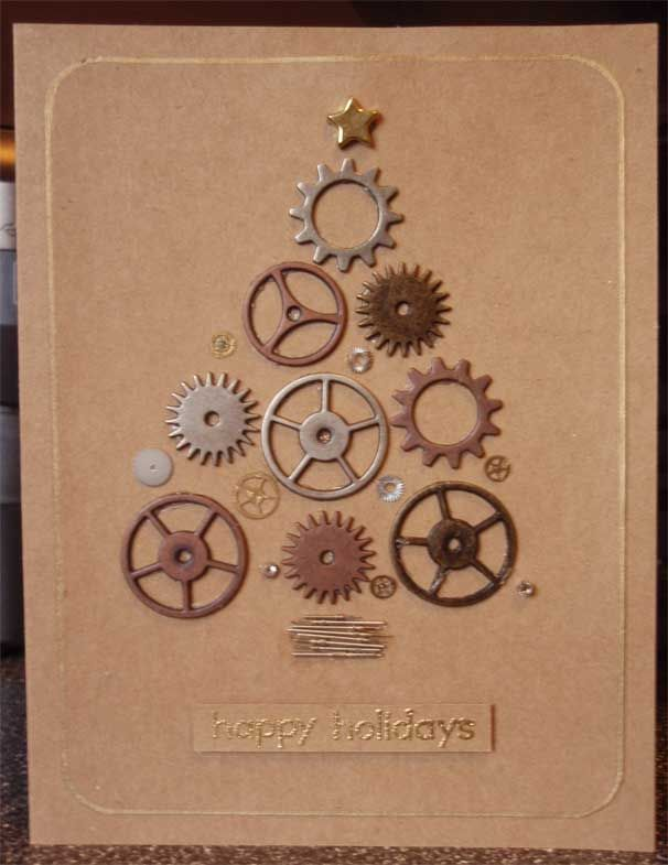 HCW2013 - Day Five: His and Her Design Elements His Christmas Tree Card.    Supplies: Tim Holtz idea-ology sprocket gears, Silver Crow Creations watch parts, Hero Arts rubber stamp, VersaMark ink, PSX embossing powder, Marvy DecoColor liquid gold pen, EK Success corner rounder, and star brad.