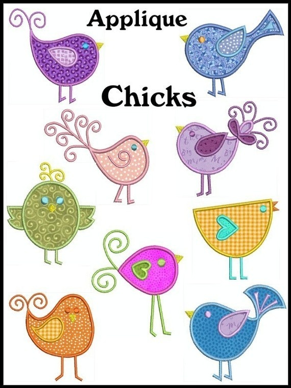 CHICKS Machine Embroidery Applique Design set of by embroiderquilt, $8.00