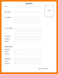 Image result for simple bio data form in word