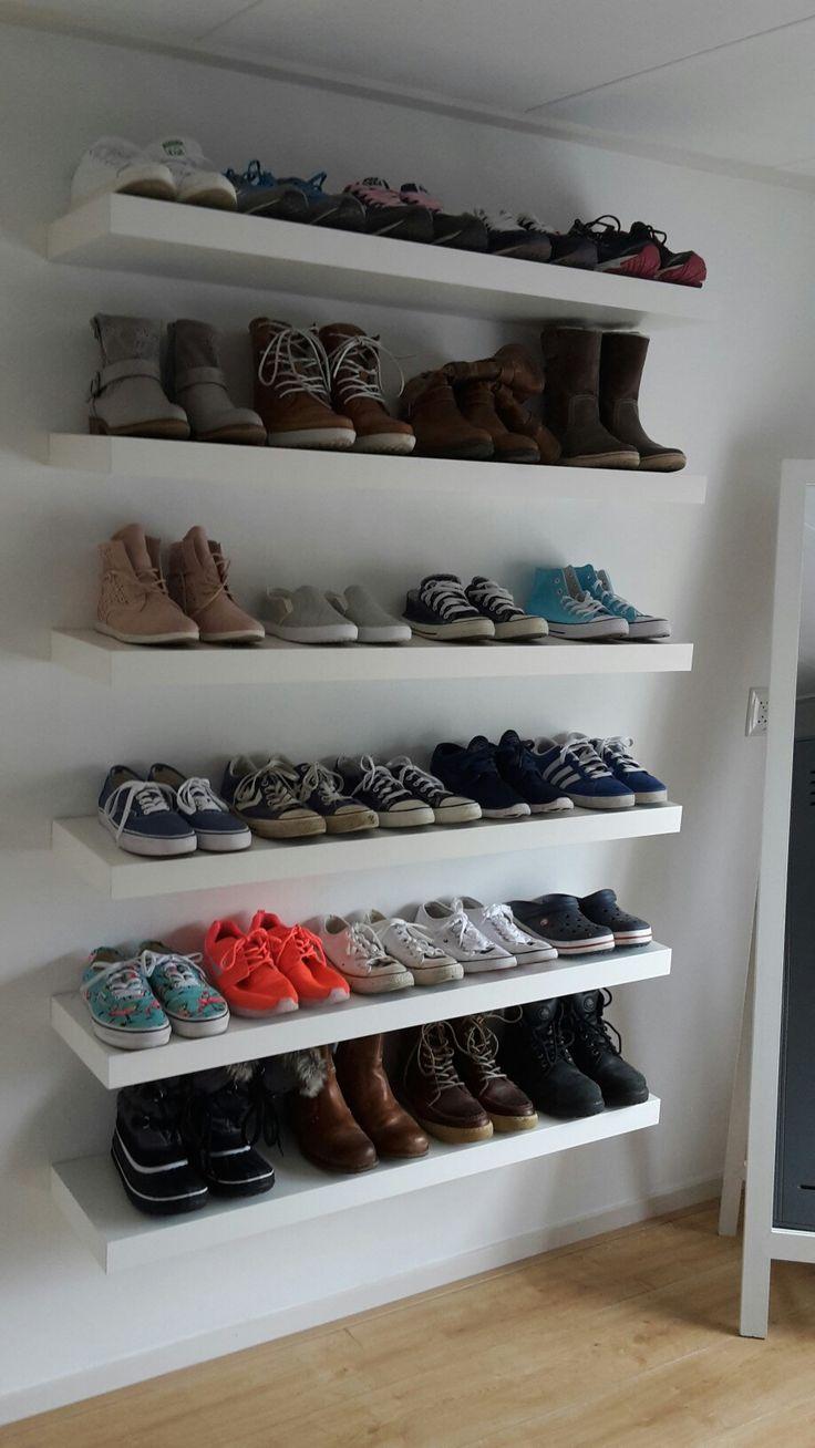 Ikea lack schoenenwand gemaakt