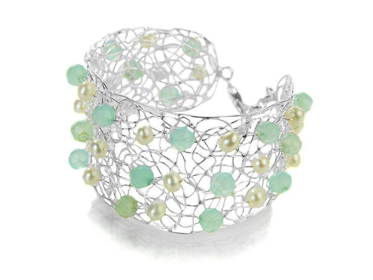 Pearl and Aqua Chalcedony Silver Mesh Bracelet