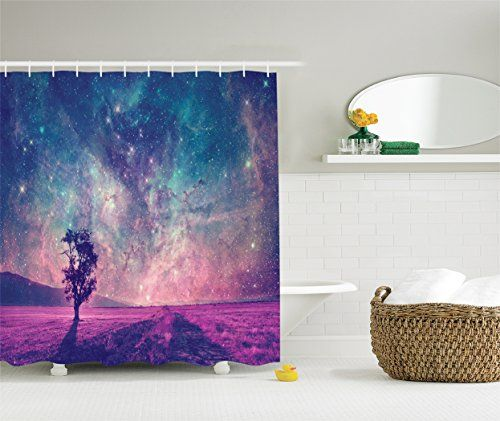 Galaxy And Lonely Tree Shower Curtain Set By Ambesonne, N...