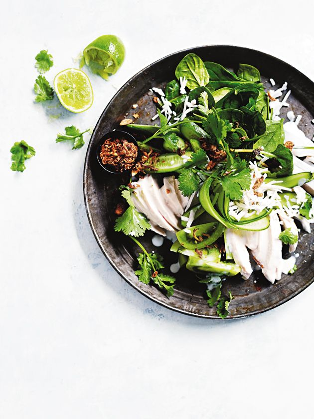 coconut, lime and coriander poached chicken salad from donna hay magazine