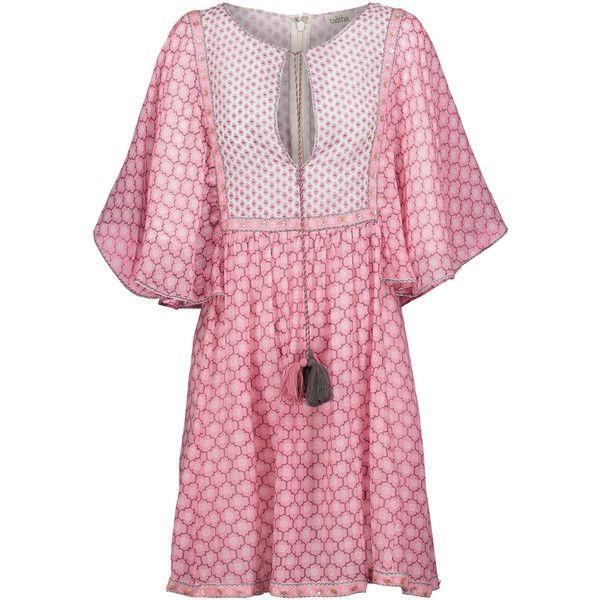 Talitha - Tasseled Embellished Printed Cotton And Silk-blend Dress ($250) ❤ liked on Polyvore featuring dresses, multi, neck ties, boho embroidered dress, pink kaftan, bell sleeve dress and kaftan dresses