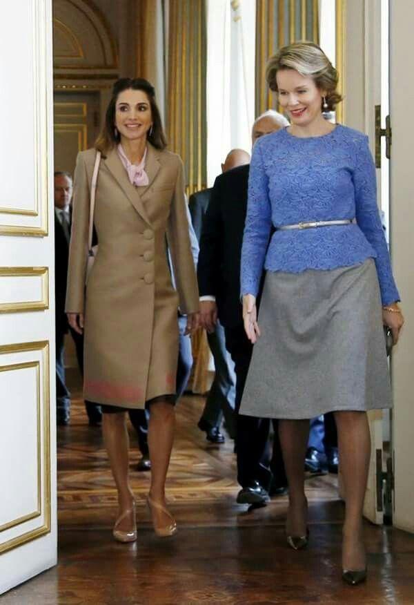 Queen Rania of Jordan and Queen Mathilde of Belgium.