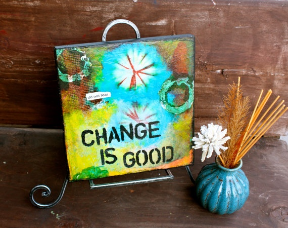 Change is Good  9x9 Mixed Media Original on by KathleenTennant, $82.00