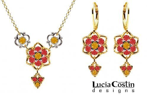 Gorgeous Jewelry Set: Necklace and Earrings by Lucia Costin with Twisted Lines, Yellow and Red Swarovski Crystals, Set with Sterling Silver Cute Flowers and Fancy Charms; 14K Yellow Gold Plated over .925 Sterling Silver Lucia Costin. $128.00. Handmade in USA unique jewelry set. A perfect feminine touch. Style takes wings in this lovely jewelry set that have a graceful flower shape. Beautifully designed with topaz and light siam Swarovski crystals. Set of jewelry designed b...