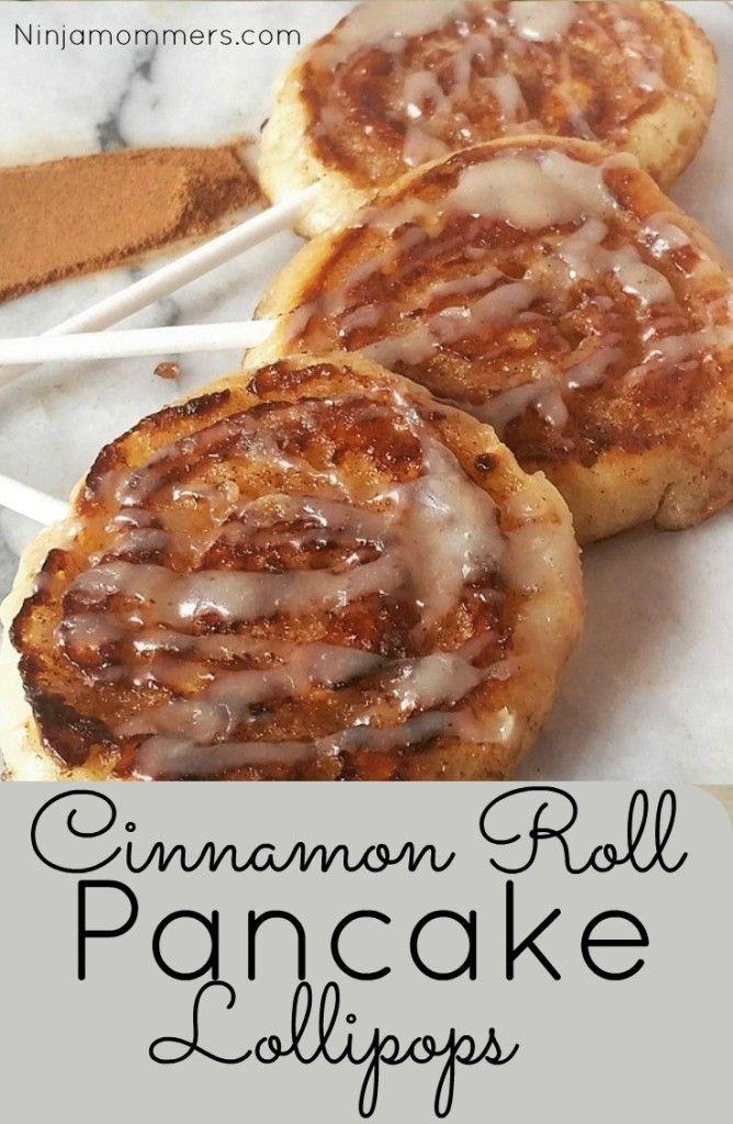 Cinnamon Roll Pancake Lollipops with Cream Cheese Glaze