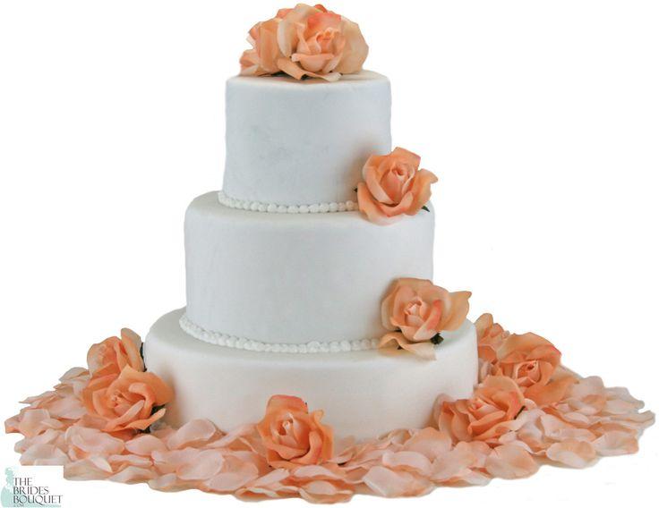 peach lavender ivory wedding cake  | Peach Silk Rose Cake Flowers