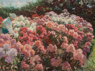Laurits Tuxen: Rhododendron in Tuxen's garden. 1917   Skagens Kunstmuseer    Art Museums of Skagen