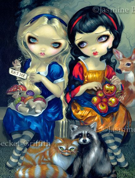 Alice in Wonderland and Snow White cheshire cat gothic fantasy art print by Jasmine Becket-Griffith 12x16 BIG. $29.99, via Etsy.