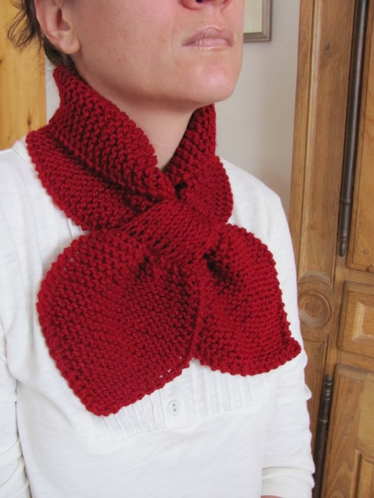 Cranberry ascot bow knot scarf. $26.00, via Etsy.