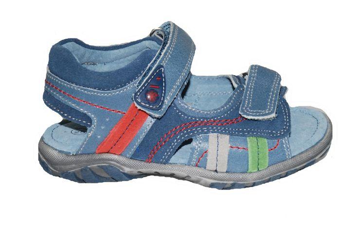 #children #footwear  Πέδιλο δερμάτινο Μούγερ, τζην, με αυτοκόλλητα κουμπώματα & ανατομικό πέλμα. www.mouyer.gr/store/products/collections/season2015S/itemA16169-6500-26