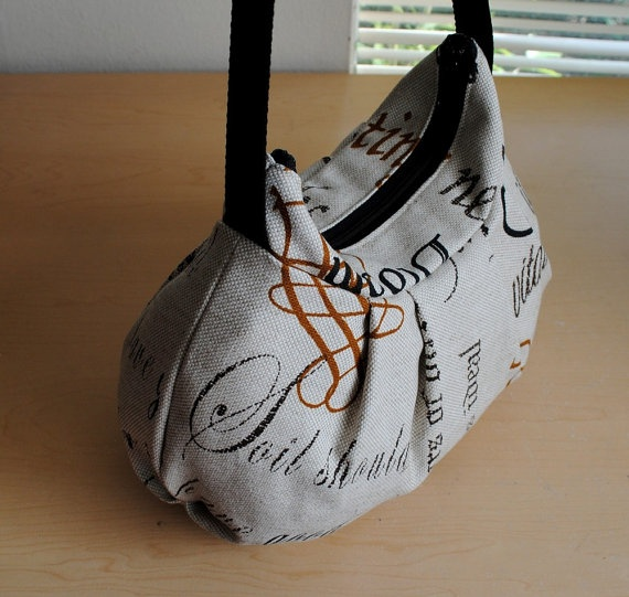 Pleated Bag // Shoulder Purse  Charcoal Printed by lireca on Etsy, $35.00