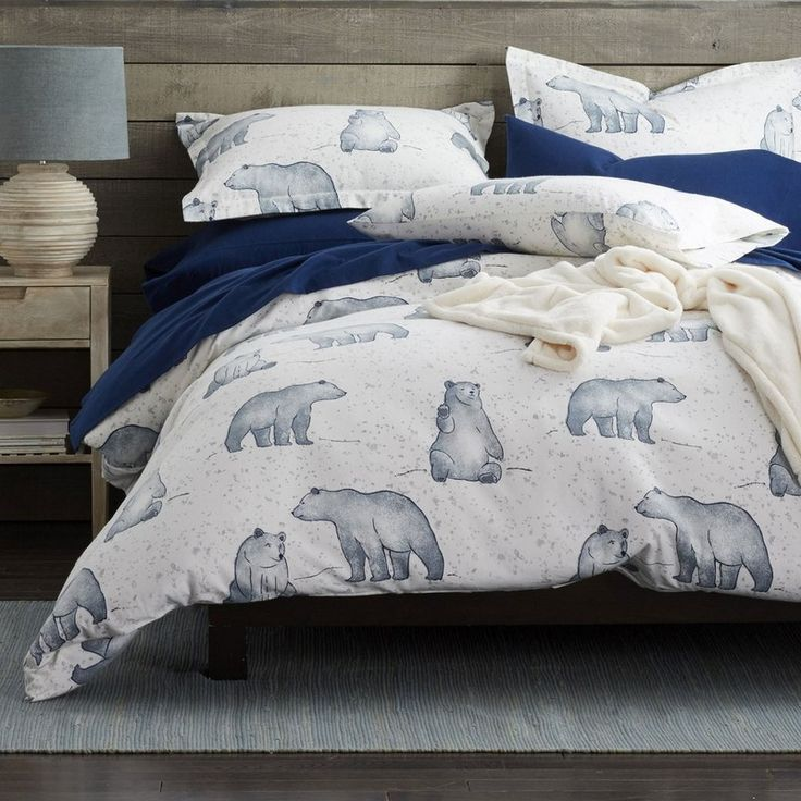 Snow Bear 5 oz. Flannel Duvet Cover / Sham - Woven of 5-oz. cotton flannel, our Snow Bear flannel duvet cover displays friendly polar bears frolicking across through a snowy winter wonderland.