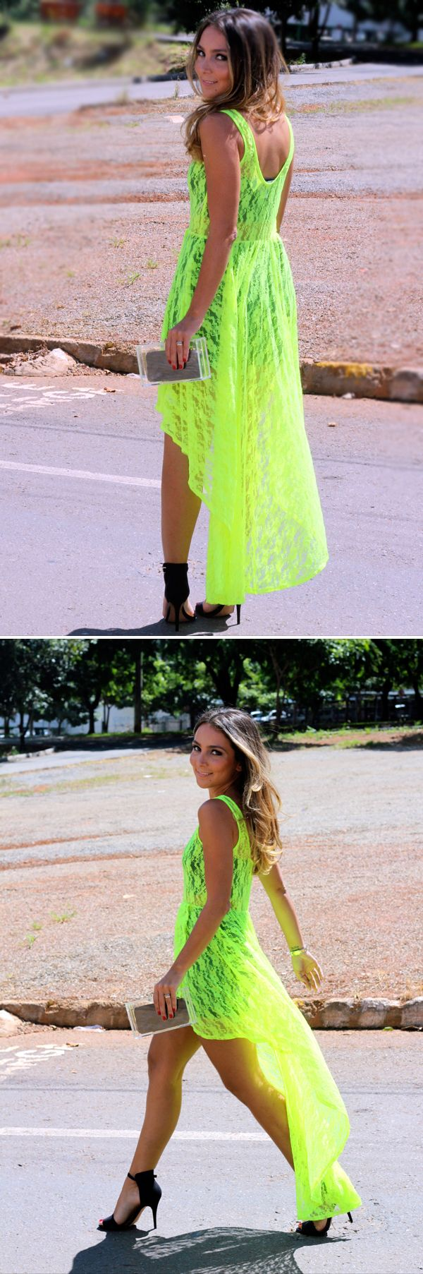 Love the neon high-low!