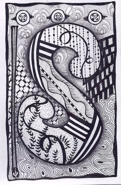Zentangle, Letter S, Zebra Letters, name, bunting, alphabet. £3.50, via Etsy.