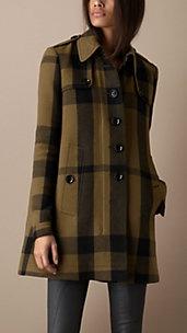 Check Wool Blend Swing Coat