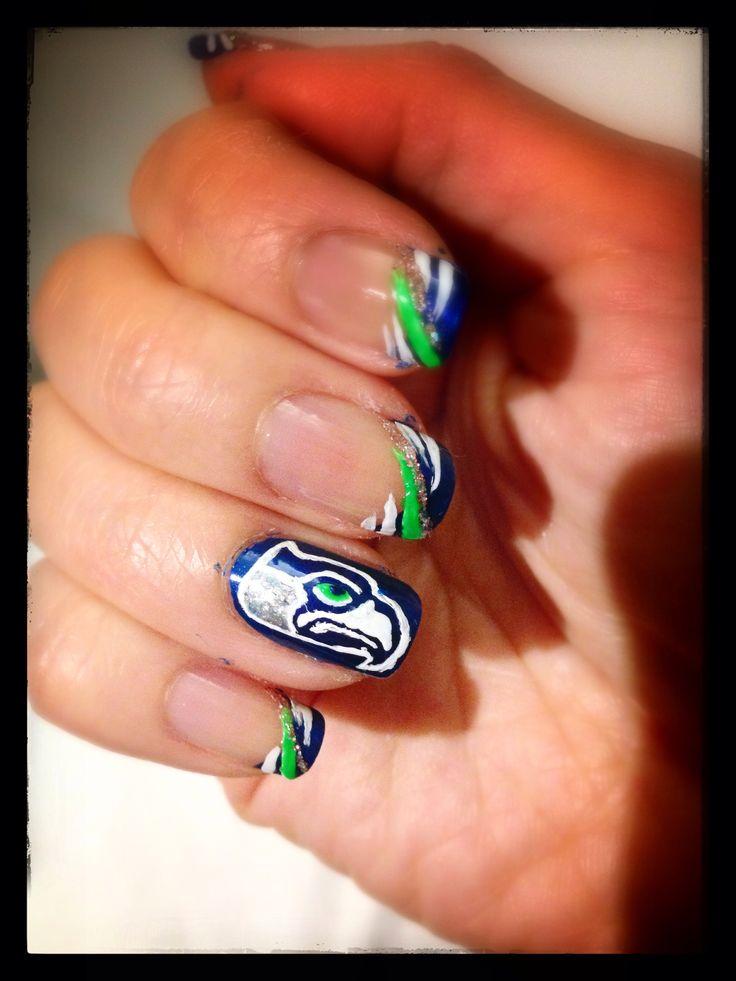 Seahawks nail design | nail designs | Pinterest