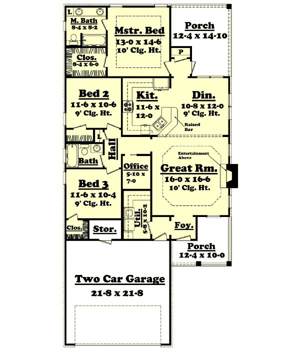 Traditional Style House Plans - 1500 Square Foot Home , 1 Story, 3 ...