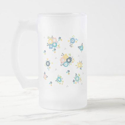 #Colorful floral pattern frosted glass beer mug - #cute #gifts #cool #giftideas #custom