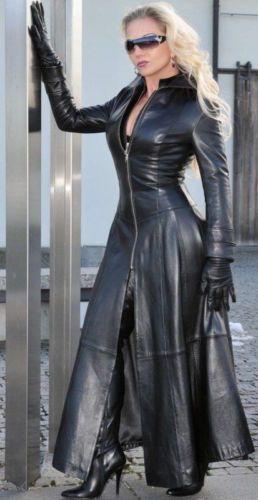 Woman-Leather-Coat-Corset-Black-Full-Length-Ledermantel-Leder-Mantel-Korsett